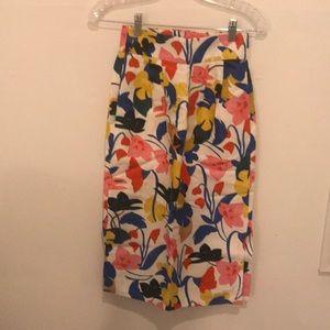Tea length floral j crew skirt
